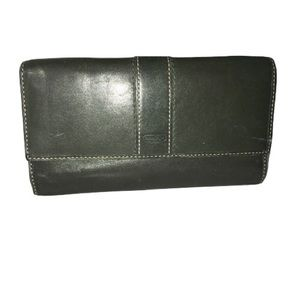 Coach Green Leather Wallet Trifold Card Holder